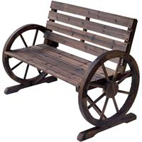 Outsunny Tuinbank 2-zitsbank CartwheelLandelijk hout bruin 105,5 x 56 x 75 cm