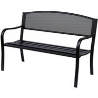 Outsunny Metalen Tuinbank parkbank 2-pers zwart 126 x 60 x 85 cm