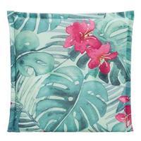 Leen Bakker Le Sud zitkussen Tropic Flower - aqua - 44x44x7 cm