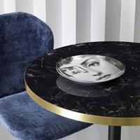SCAB design Tiffany Ronde Bistro Eettafel 70 Cm - Zwart Marmer Effect Tafelblad - Zwart Onderstel