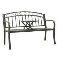 vidaXL Tuinbank met tafeltje 125 cm staal grijs