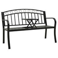 vidaXL Tuinbank met tafeltje 125 cm staal zwart