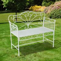Outsunny Metalen Tuinbank 2-pers wit 107 x 51 x 96 cm