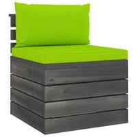 vidaXL 2-delige Loungeset met kussens pallet massief grenenhout