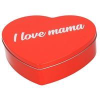 Bellatio Decorations Rood I Love Mama hart blik cadeau snoepblik/bewaarblik 18 cm - Moederdag kado - Cadeauverpakking rode hartjes opbergblikken/voorraadblikken