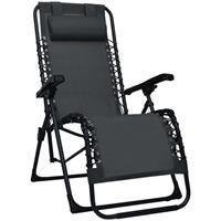 vidaXL Ligstoel inklapbaar textileen zwart