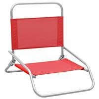 vidaXL Strandstoelen 2 st inklapbaar stof rood