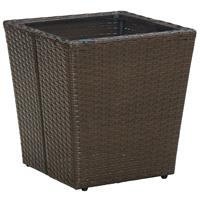 vidaXL Theetafel 41,5x41,5x44 cm poly rattan en gehard glas bruin