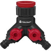 TOOLCRAFT 2302363 Kunststof 2-weg verdeler 26,44 mm (3/4) buitendraad, 33,25 mm (1) buitendraad Waterstop, Met reguleerventiel