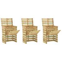 vidaXL Tuincompostbakken 3 st 80x50x100 cm geïmpregneerd grenenhout