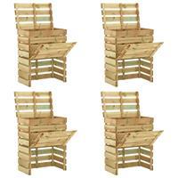 vidaXL Tuincompostbakken 4 st 80x50x100 cm geïmpregneerd grenenhout