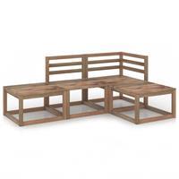 vidaXL 4-delige Loungeset bruin geïmpregneerd grenenhout