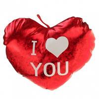 Pluche Glimmend Hart Rood Met Tekst I Love You - Valentijnscadeaus