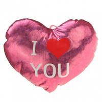 Pluche Glimmend Hart Roze Met Tekst I Love You - Valentijnscadeaus
