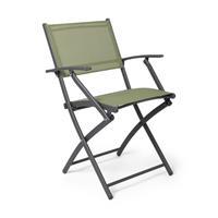 Xenos Vouwstoel - groen - met armleuning - 54x56x83.5 cm