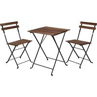 Relaxwonen Bistro Set - Tuinset - Tuintafel En Stoelen - Zwart - Metaal - Hout