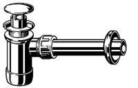plugbekersifon met standpijp zonder overloop chroom