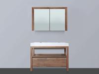 Saniclass Natural Wood Badmeubelset 100cm Grey Wash met wastafel wit 2 kraangaten inclusief spiegelkast