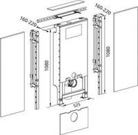 Burda Santro WC-element E m. Geberit inbouwreservoir UP320 zelfdragend H82.5/108cm max breedte 125cm m. dualflush m. frontbediening