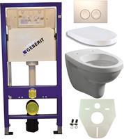 Geberit Toiletset  UP100 Duofix + Wiesbaden Trevi hangend toilet met zitting +  Delta21 bedieningsplaat, wit