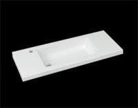Best Design Wastafel SLIM 100cm (Ondiep) 35 cm Met-Kraangat Glans-Wit