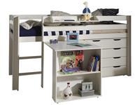 Vipack halfhoogslaper Pino met bureau en ladekast - wit - 114x105,4x209,4 cm