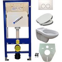 Douche Concurrent Toiletset  UP100 Duofix + Wiesbaden Neptunus hangend toilet met Ultimo zitting +  Delta21 bedieningsplaat, wit