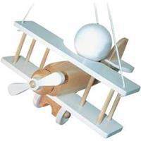 Witte hanglamp Vliegtuig met houtelementen