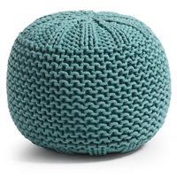 Laforma/kavehome Gebreide poefShott' kleur turquoise
