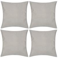 Kussenhoezen linnen look 50 x 50 cm beige 4 stuks
