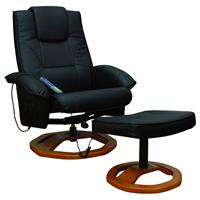 vidaXL Massagestoel met voetensteun elektrisch kunstleer zwart