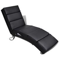 vidaXL Massage ligstoel kunstleer zwart