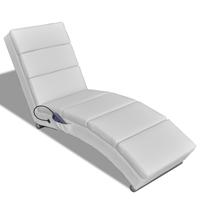 vidaXL Massage ligstoel kunstleer wit