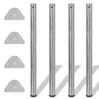 vidaXL Tafelpoten in hoogte verstelbaar geborsteld nikkel 870 mm 4 st