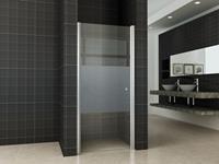 Mueller Satijn douchedeur links met mat glas 80x200cm ANTI-KALK