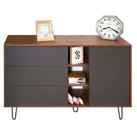 Leen Bakker dressoir Lardal - walnootkleur/grijs - 80x120x40 cm