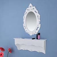 vidaXL Muurschap voor sleutels en sieraden met spiegel en haken