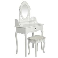 vidaXL Kaptafel met spiegel en krukje wit