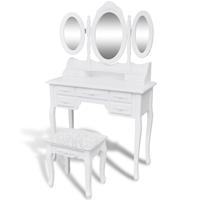 vidaXL Kaptafel 3 spiegels en krukje wit