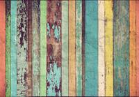 Colored Wooden Wall Fotobehang 366x254cm