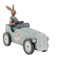 Clayre & Eef Decoratie konijn in auto 22x9x17 cm