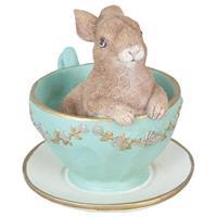 Clayre & Eef Decoratie konijn in kopje 8x7x8 cm