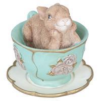 Clayre & Eef Decoratie konijn in kopje 8x7x7 cm