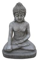Farmwoodanimals Boeddha Zit Middel 27X20X40 Cm Licht Grijs Fiberclay