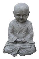 Farmwoodanimals Boeddha Shaolin Monnik Hand Gevouwen 20X18X42 Cm Licht Grijs Fiberclay