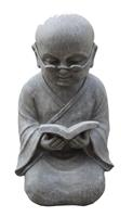 Farmwoodanimals Boeddha Shaolin Monnik Met Boek 42 Cm Licht Grijs Fiberclay