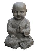 Farmwoodanimals Boeddha Shaolin Monnik Meditatie 25X20X42 Cm Licht Grijs Fiberclay