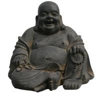 Boeddha Happy 40 Cm Donker Grijs Fiberclay