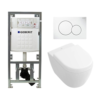 Villeroy & Boch Subway 2.0 compact DirectFlush toiletset met Geberit reservoir en bedieningsplaat softclose met quickrelease wit