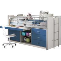 Vipack halfhoogslaper Bonny met uitschuifbaar bureau - blauw - 116x96x207 cm
